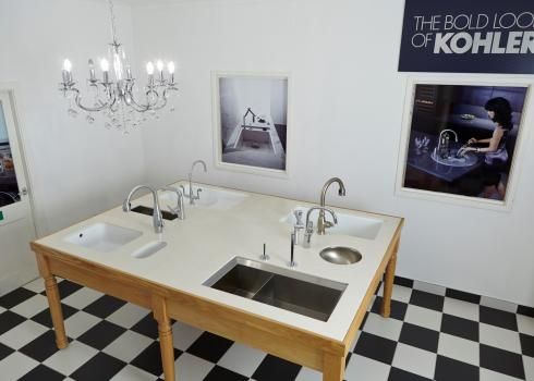 Our showroom includes taps and sinks