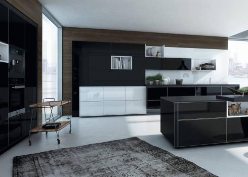 ALNO Vera High Gloss Black and ALNO Vetrina High Gloss Ultra White