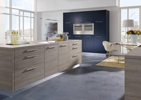 ALNO Plan Oak Effect Cashmere Grey and Alnop Fine Deep Blue Matt