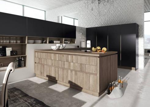 ALNO Star Pure Black Super Matt and Alno Star Smartline Sanremo Oak Effect