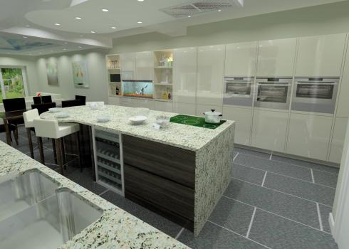 Computer 3D visual of kitchen design