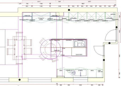 Floor plan of kitchen design from AKC Kitchens